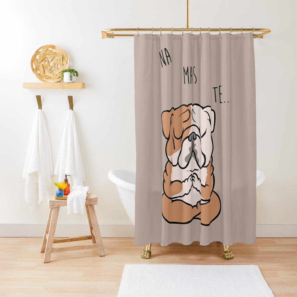 NAMASTE English Bulldog Shower Curtain