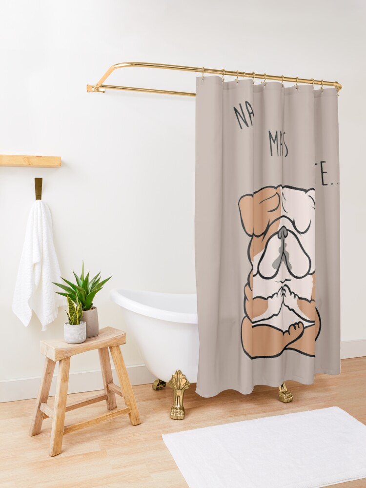 Alternate view of  NAMASTE English Bulldog Shower Curtain