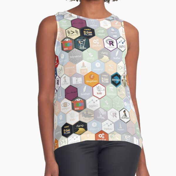 R hex fabric (small hexes) Sleeveless Top