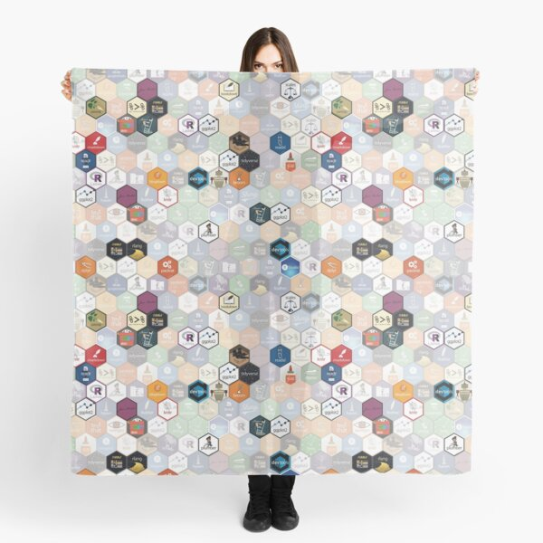 R hex fabric (small hexes) Scarf