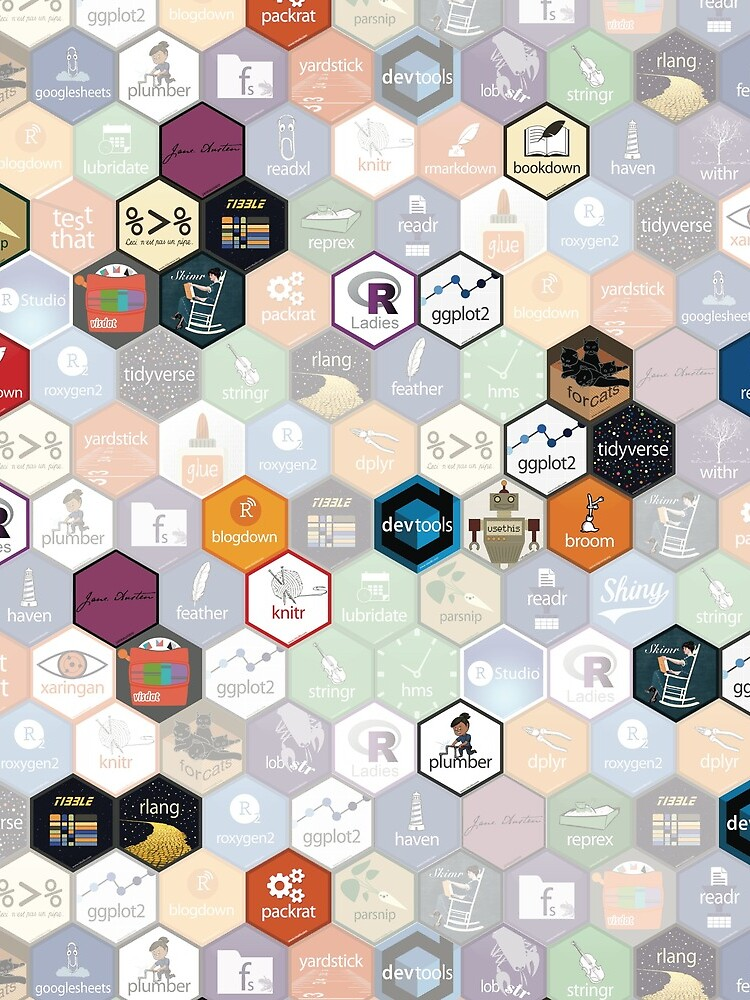 R hex fabric (small hexes) by ameliamn