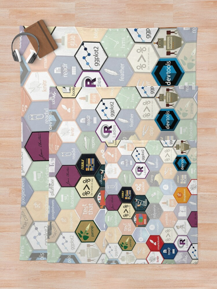 Alternate view of R hex design (large hexes) Throw Blanket