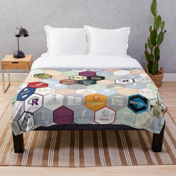 R hex design (large hexes) Throw Blanket