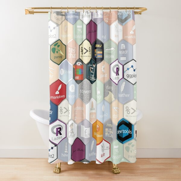 R hex design (large hexes) Shower Curtain