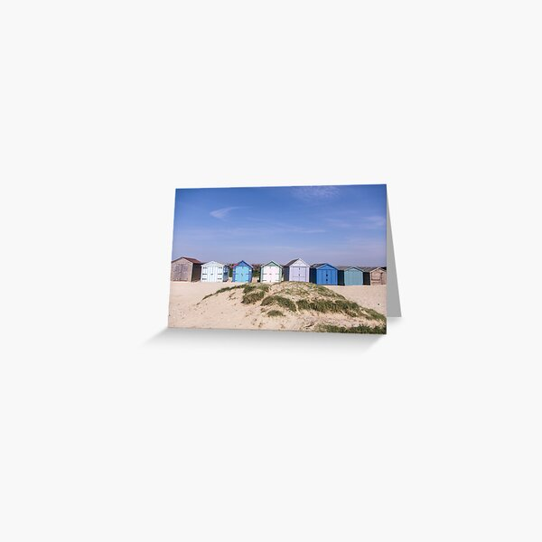 Beach hut blues at West Wittering beach, Sussex, England Greeting Card