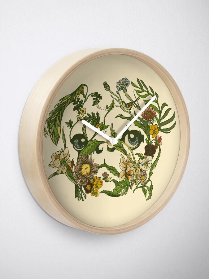 Alternate view of Botanical Pug Clock