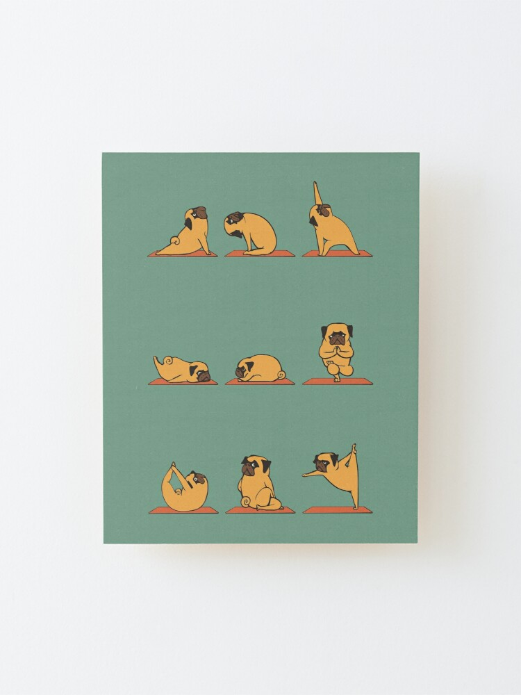Alternate view of Pug Yoga Mounted Print