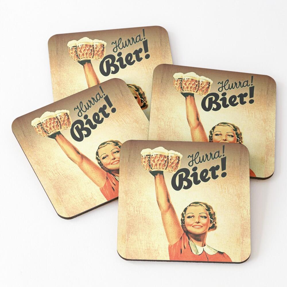 Vintage 1930s Oktoberfest Hurra Bier  Coasters (Set of 4)