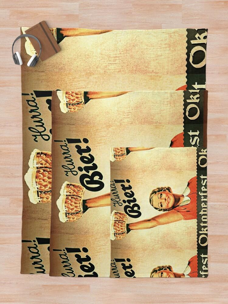 Alternate view of Vintage 1930s Oktoberfest Hurra Bier  Throw Blanket