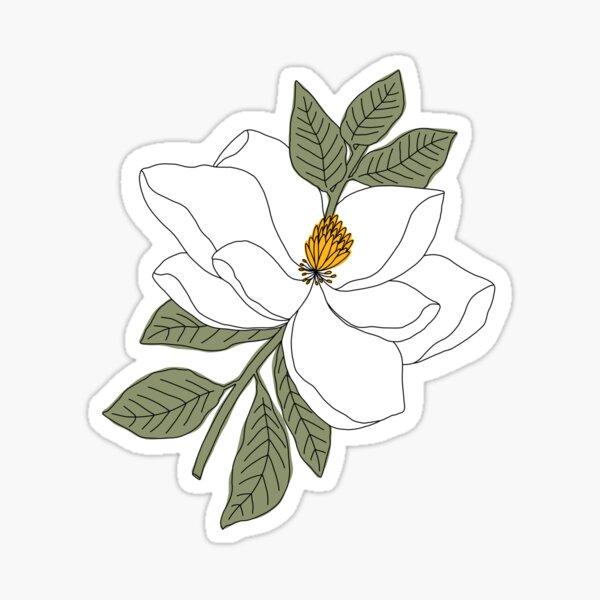 Magnolia Flower Glossy Sticker