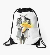 Saxophonist Musician Drawing Drawstring Bag