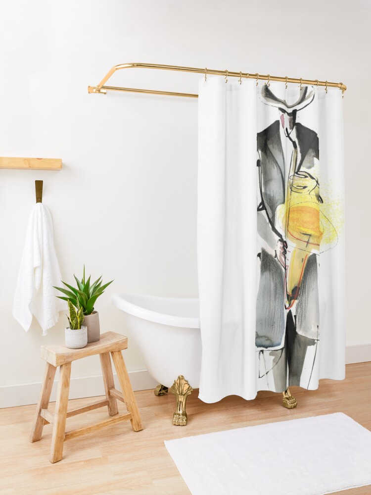 Alternate view of Saxophonist Musician Drawing Shower Curtain