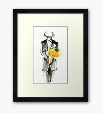 Saxophonist Musician Drawing Framed Print