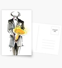 Saxophonist Musician Drawing Postcards