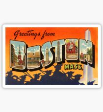 Boston Vintage Travel Postcard Restored Sticker