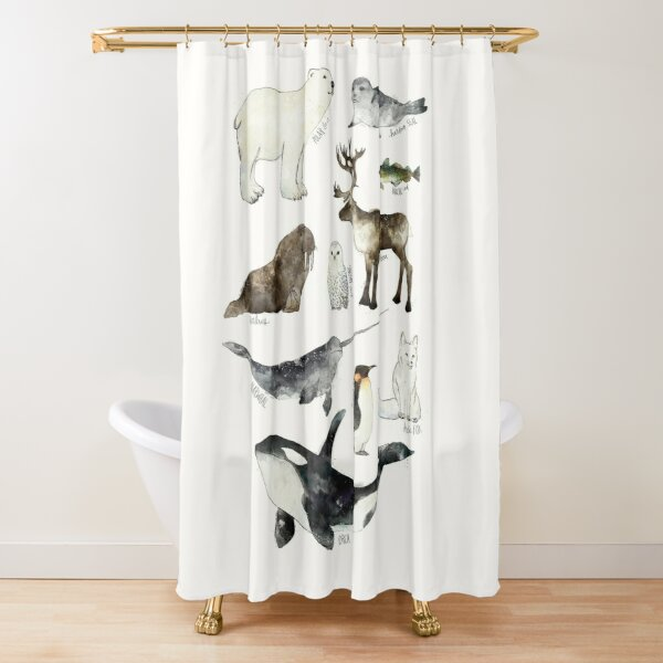 Arctic & Antarctic Animals Shower Curtain
