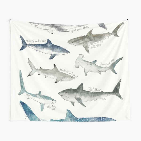 Shark Tapestry Hammerhead Fish Ornate Print Wall Hanging Decor