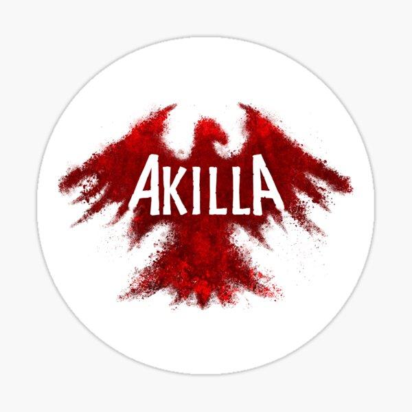 RED ON WHITE AKILLA STICKER Sticker