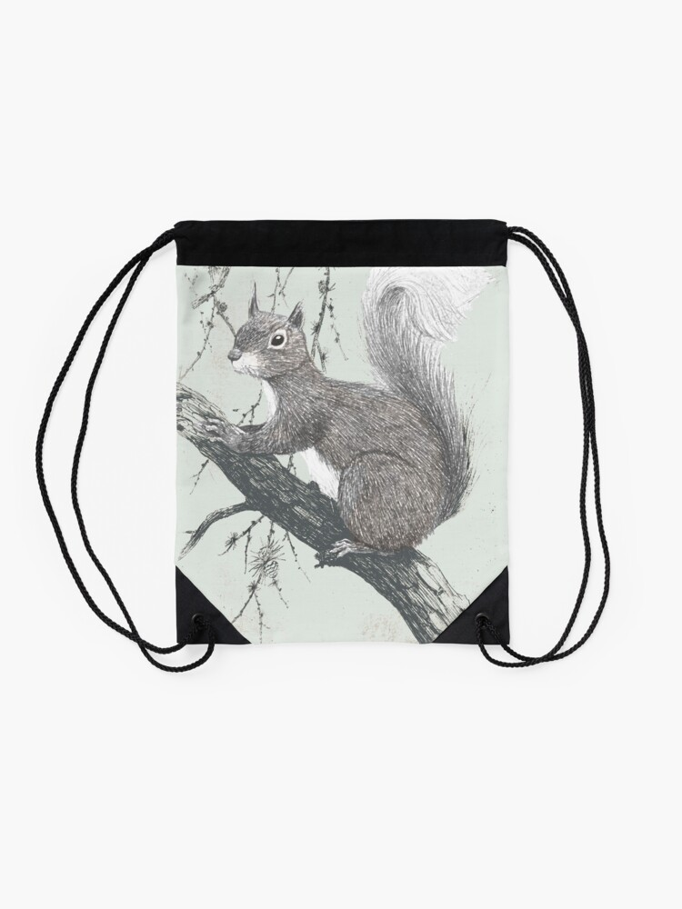 Alternate view of Squirrel in a tree Drawstring Bag