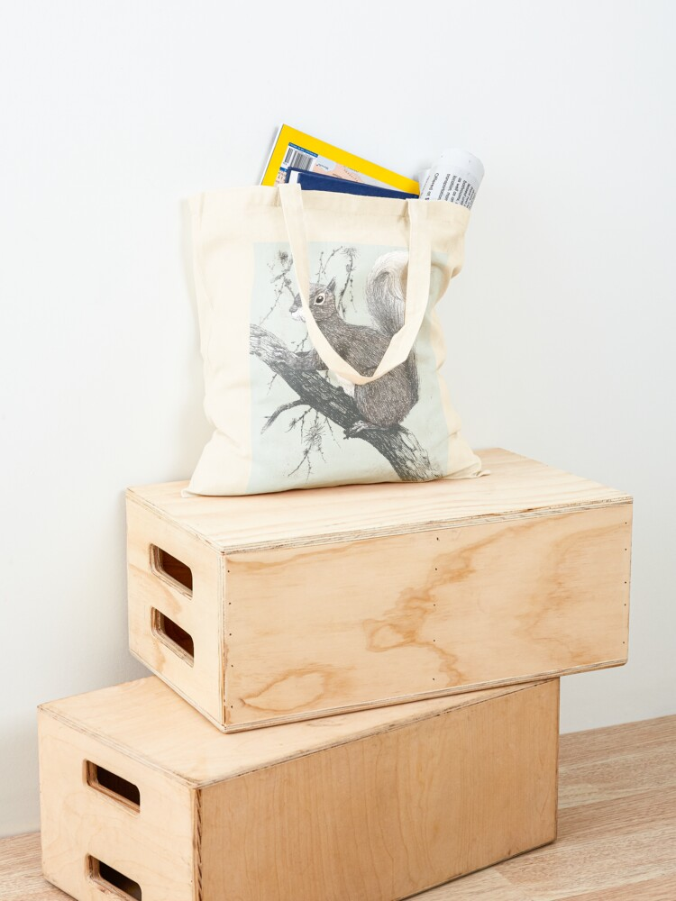 Alternate view of Squirrel in a tree Tote Bag