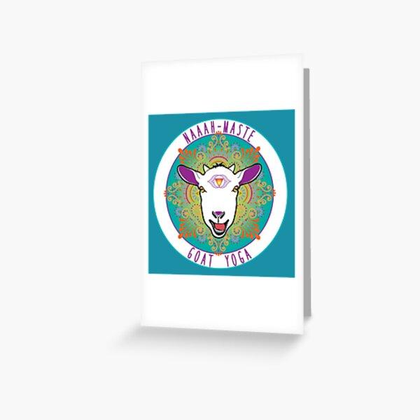 Goat Yoga design, round Greeting Card