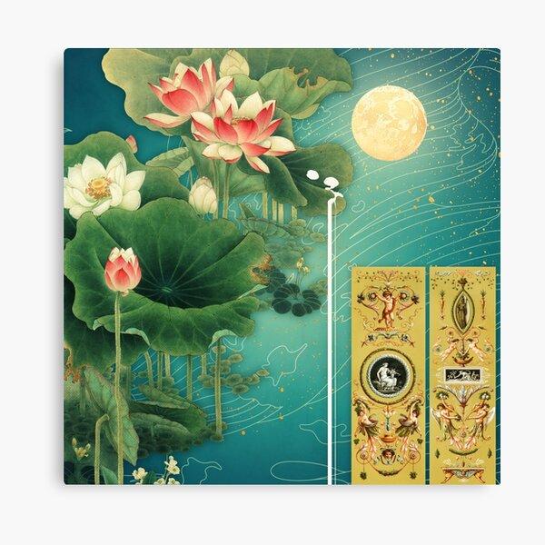 Chinese Lotus Full Moon Garden Canvas Print