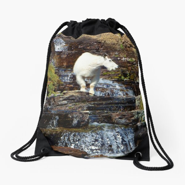 Logan Pass Mountain Goat Drawstring Bag