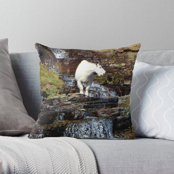 Logan Pass Mountain Goat Throw Pillow
