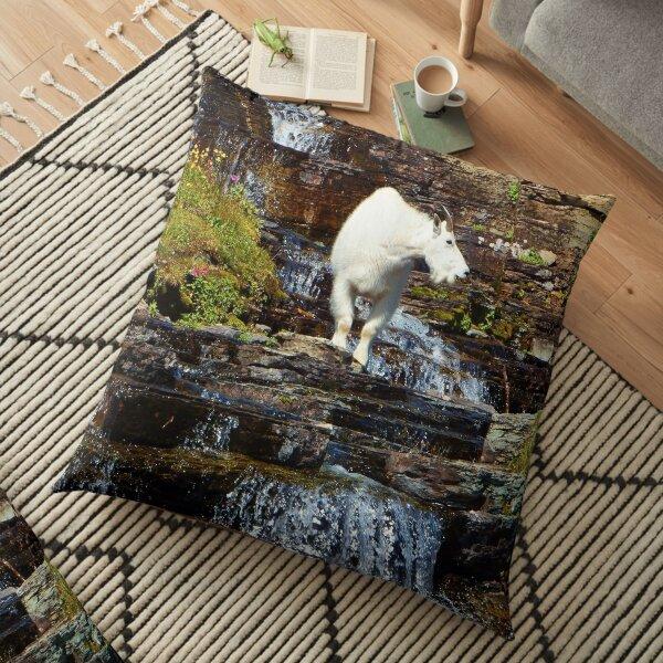 Logan Pass Mountain Goat Floor Pillow