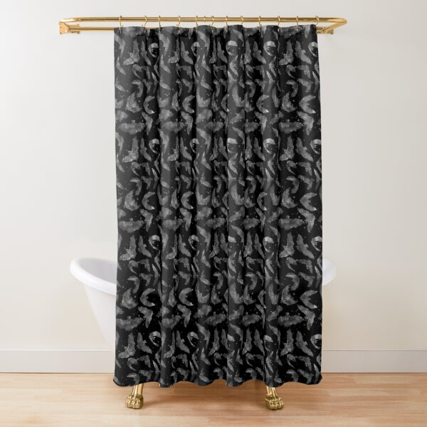 Grey Halloween bats Shower Curtain