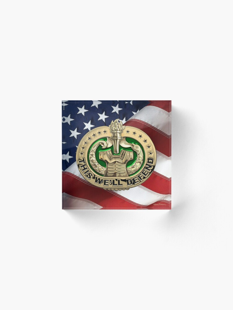 Alternate view of U.S. Army Drill Sergeant Identification Badge over American Flag Acrylic Block