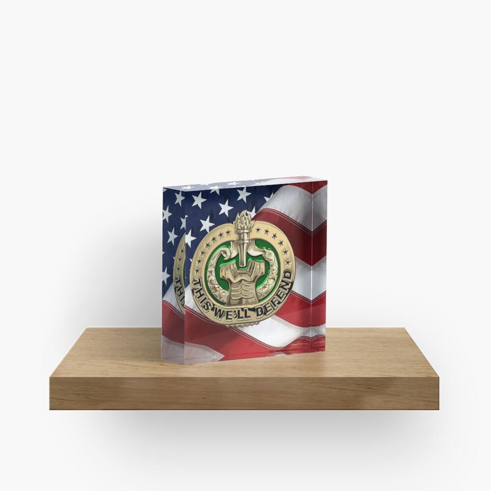 U.S. Army Drill Sergeant Identification Badge over American Flag Acrylic Block
