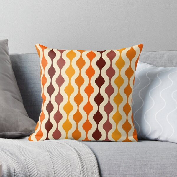 Groovy 70's pattern fall colors Throw Pillow