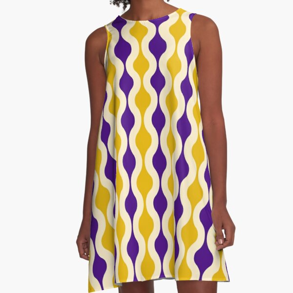 Groovy 70's pattern purple and gold A-Line Dress