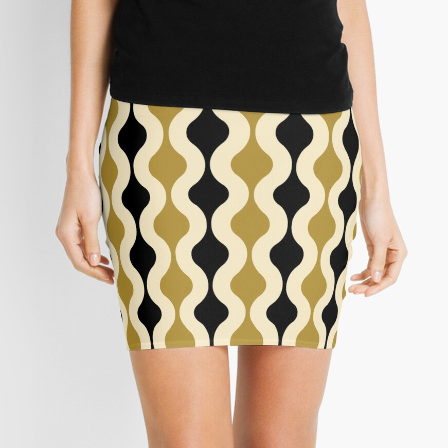 Groovy 70's pattern black and gold Mini Skirt