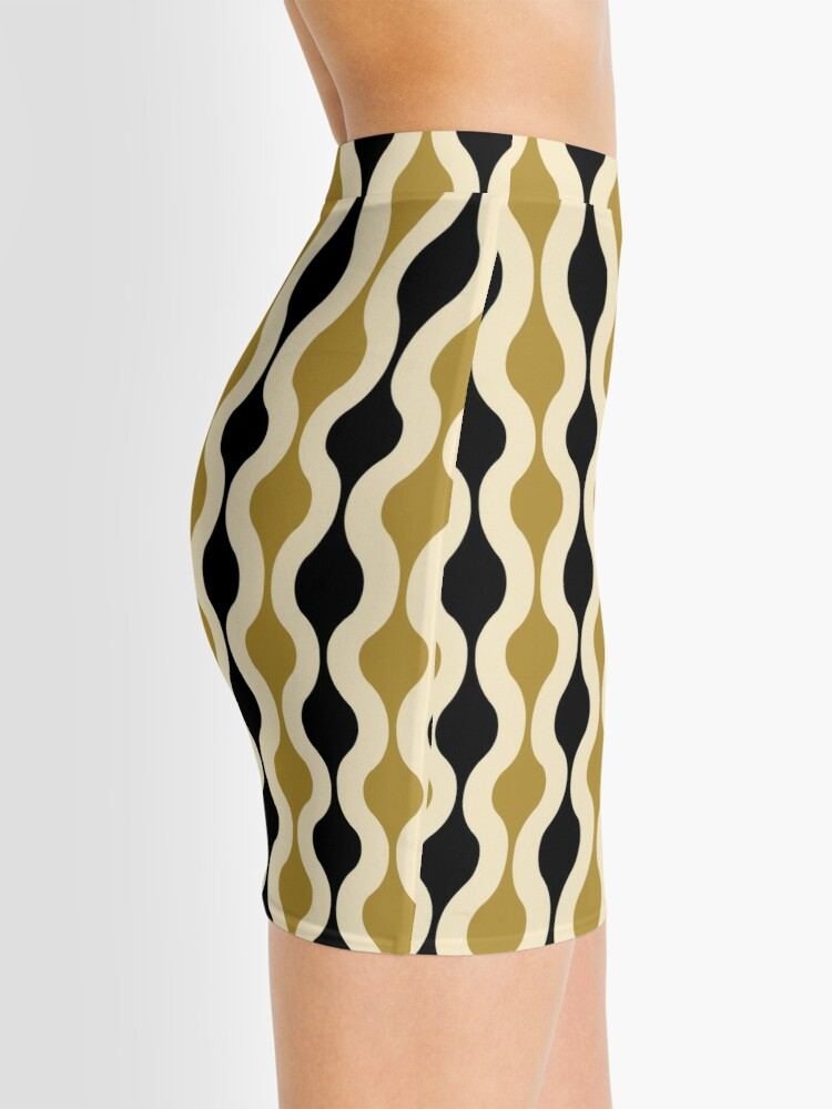 Alternate view of Groovy 70's pattern black and gold Mini Skirt