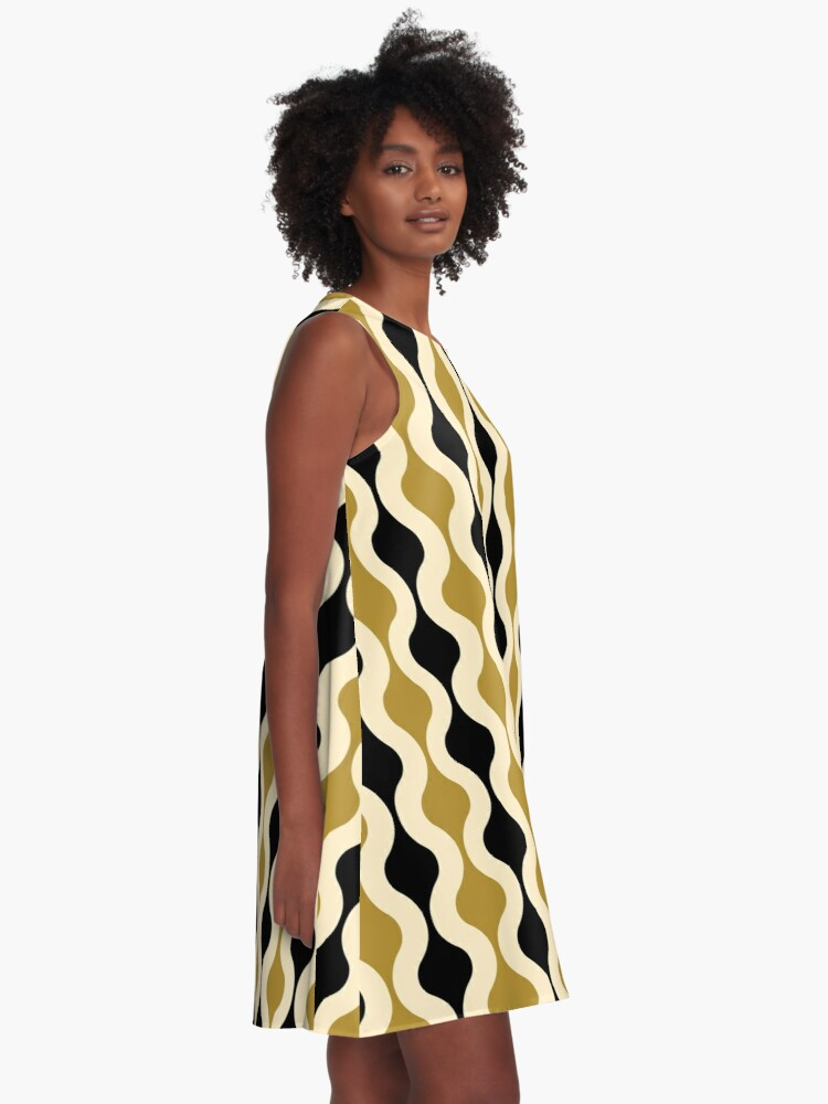 Alternate view of Groovy 70's pattern black and gold A-Line Dress
