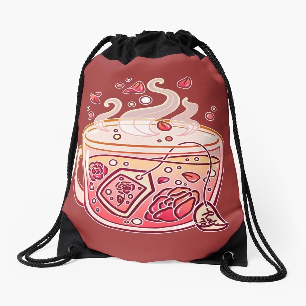 Sweet Rose Tea Drawstring Bag