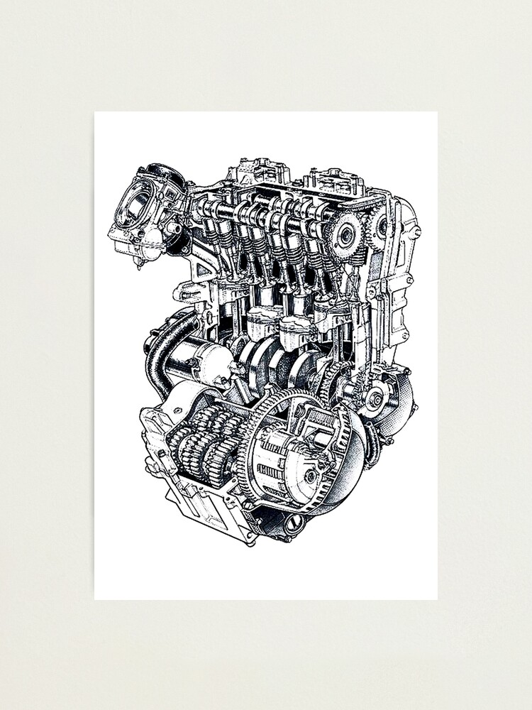 Kawasaki ZX600r 'Ninja' Engine diagram.