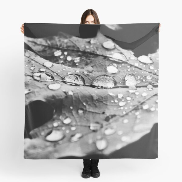 Leaf after Rain Black and White Scarf