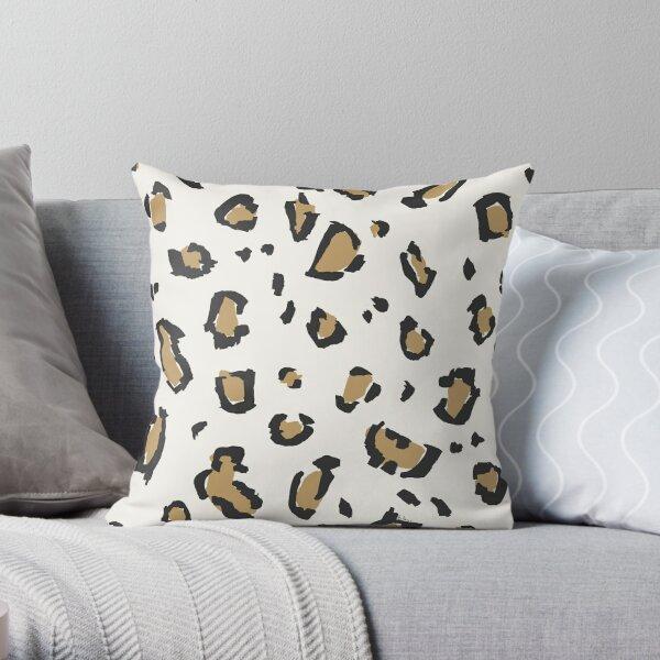 Wildcat Big Leopard Print in Bone White Throw Pillow