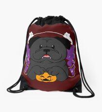 Licorice the Black Pug Drawstring Bag