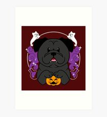 Licorice the Black Pug Art Print