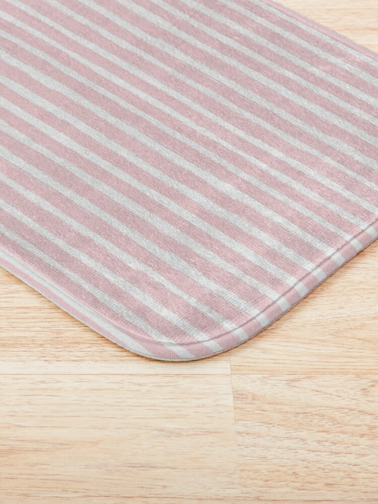 Alternate view of Watercolor Pink Stripes with Elephants  Bath Mat