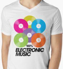 100% Electronic Music Men's V-Neck T-Shirt