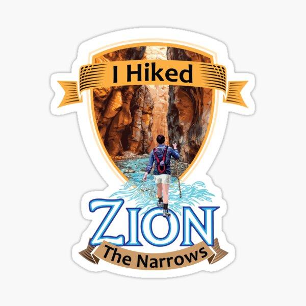 Zion National Park Utah I Hiked The Narrows Retro Vintage Badge style design Sticker