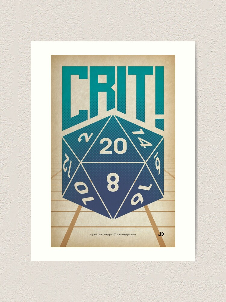 Alternate view of Crit Success - Blue Art Print