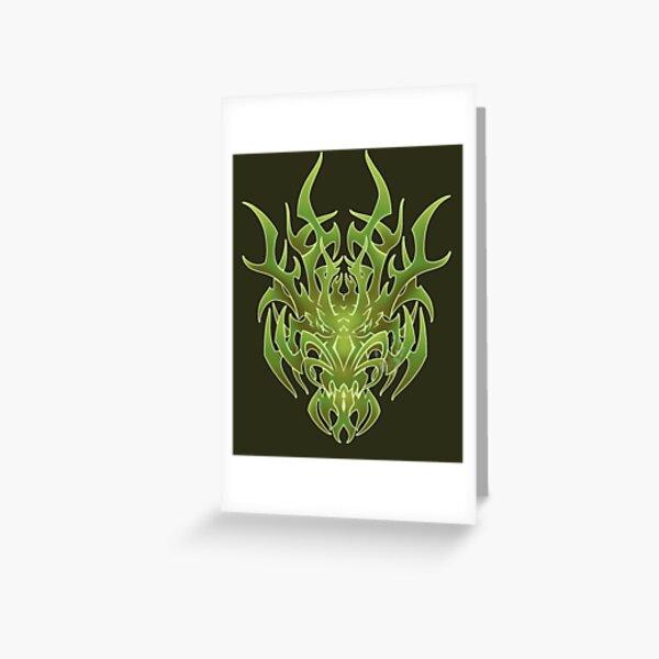 Fire Dragon Tribal Digital Design Greeting Card By Tranquileyez Redbubble