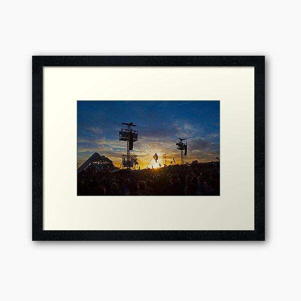 Pyramid Stage, Glastonbury Festival Sunset Framed Art Print