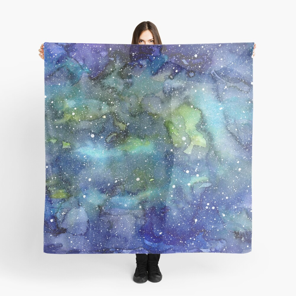 Watercolor Galaxy Painting Nebula Art Scarf